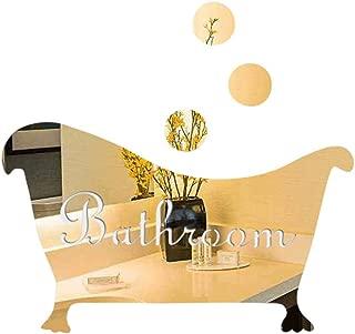 Konxxtt Acrylic Wall Stickers, 3D Mirror Sticker Funny Bathtub Shape Door Bathroom DIY Wall Decals Bar Home Decor(Gold,16.5x9.5cm/6.5x3.7)