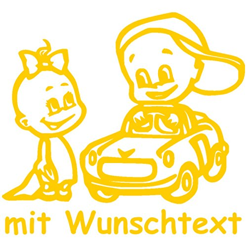 XL Babyaufkleber für Geschwister mit Wunschtext - Motiv Z42-MJ (25 cm)
