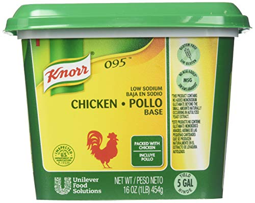 Knorr Professional 095 Low Sodium Chicken Stock Base Gluten Free, No added MSG, 0g Trans Fat, 1 lb, Pack of 12