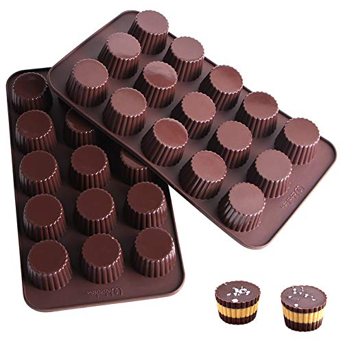 Webake Chocolate Candy Molds Silicone Baking Mold for Snack Size Peanut Butter Cup, Jello, Keto Fat Bombs and Cordial, Pack of 2