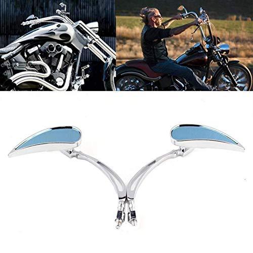 YMSHD Espejos retrovisores retrovisores Personalizados cromados Azules para Motocicleta Harley Cruiser Chopper Dyna Electra Glide