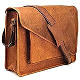 Genuine Leather Messenger Bag Shoulder Satchel for 15.6-Inch Laptop