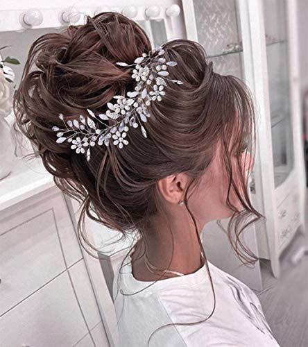 Unicra Brautschmuck Hochzeit Haarschmuck Weinrebe Silber Perle Blume Braut Stirnband Strass Kopfschmuck Haarschmuck für Brautjungfer und Frauen
