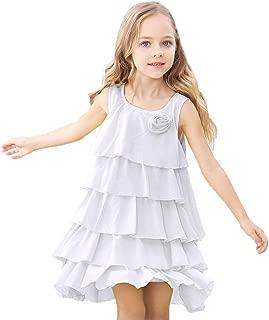 Flower Girls Dress Sleeveless Tiered Dresses Ruffle Hem for Kids Toddler Girl