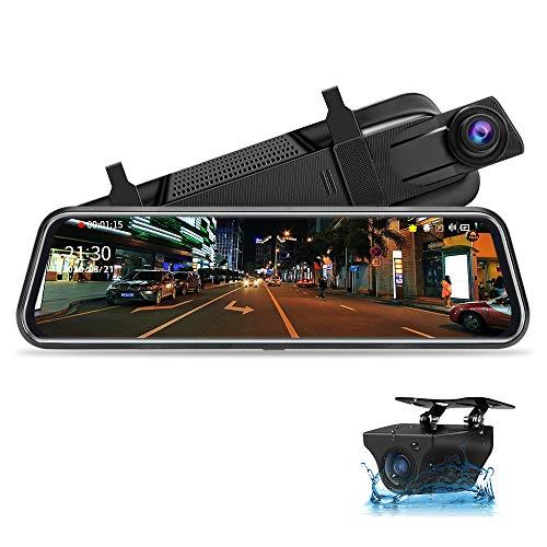10' Mirror Dash CCM Pantalla Tácti Retrovisor, Delantera y Trasera 1080P Streaming Media con Cables de 10 m Lente Doble Súper Visión Nocturna Gran Angular de 170 ° Monitor de estacionamiento
