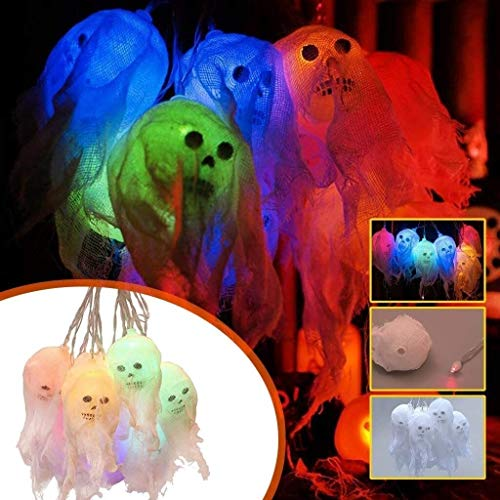 WSXQAZ Props Halloween Decorations, Skull Lights Halloween Decor, Led Lanterns Halloween Decorations Outdoor Suitable for Party Halloween Party Supplies (Color : Multi-Colored)