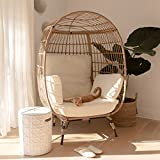 Barton Oversized Wicker Egg Chair Indoor/Outdoor Lounger for Patio, Backyard, Living Room w/ 4 Cushions, Stationary Egg Chair