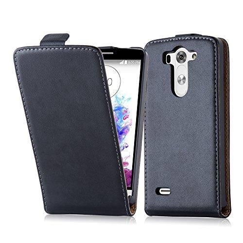 Cadorabo Hülle für LG G3 Mini / G3 S in KAVIAR SCHWARZ - Handyhülle im Flip Design aus glattem Kunstleder - Hülle Cover Schutzhülle Etui Tasche Book Klapp Style