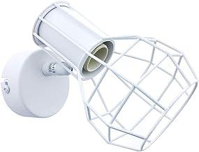 BarcelonaLED Aplique de Pared o Techo Vintage con Pantalla de Jaula Orientable Diseño Nórdico Industrial Color Blanco para Bombillas Casquillo E14