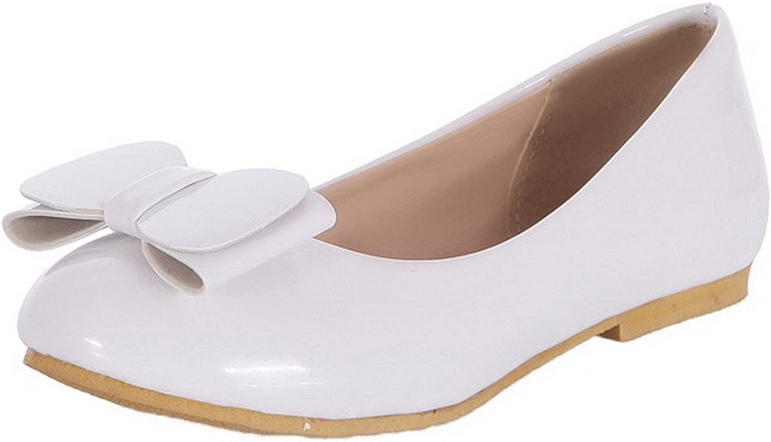 WeenFashion Women's Pull-On Low-Heels Patent Leather Solid Round-Toe Pumps-shoes