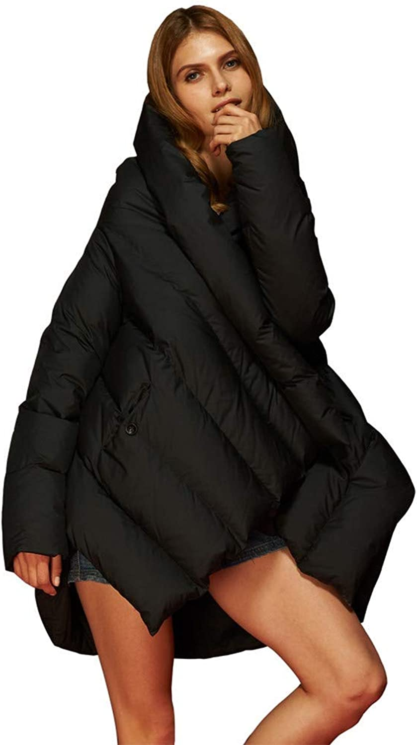 Women's Winter Down Coat Loose Cloak Down Jacket,Black