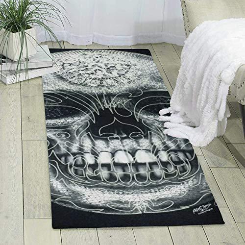 Teppich Läufer 60 x 180 cm Goth Totenkopf Tattoo Modern Bereich Teppich Matte für Schlafzimmer Boden Sofa Wohnzimmer