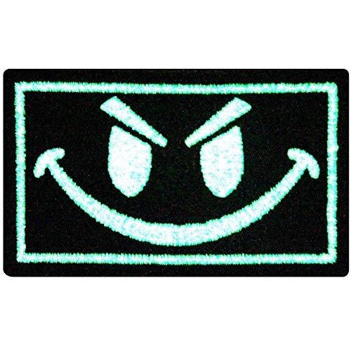 Schlechter Smiley Lächelndes Gesicht Taktisch Moral Flicken Bestickter Glühen Im Dunklen Aufnäher zum Aufbügeln/Annähen