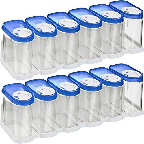 Kigima Gewürzdosen Schüttdosen Streudosen Vorratsdosen 0,25l 12er Set mit 2 Regalen blau
