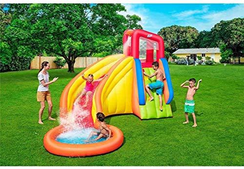 Vivid Inicio Castillo Hinchable, Parque acuático de Gran Escala de la Torre del Castillo Inflable para niños con la Diapositiva y la Pared de la Escalada para el jardín al Aire Libre, 366x337x241cm