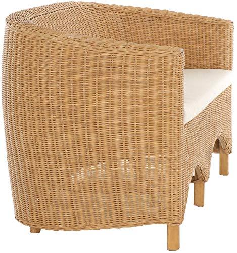 korb.outlet Rattan-Sofa 2-Sitzer Club inkl. Sitzpolster Beige, Couch aus echtem Rattan (Honig - Dunkel) - 3