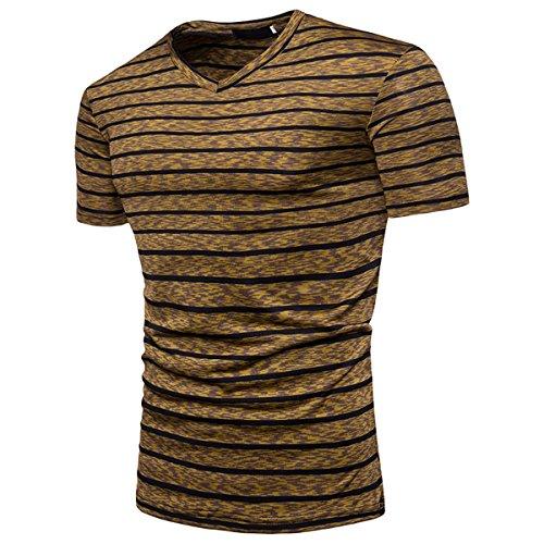 Herren Gestreift Entworfen Freizeit Kurzarm T Shirt(XXL,gelb)