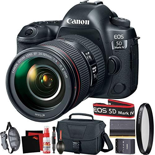 Câmera Canon EOS 5D Mark IV DSLR 24-105 mm f/4L II Versão Internacional + filtro de proteção UV + estojo de transporte + bateria + conjunto de alça de pescoço Canon