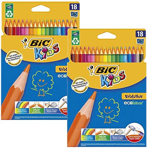 BIC Kids Evolution, Buntstifte Set mit 18 Stiften (2x 18er Kartonetui Evolution)
