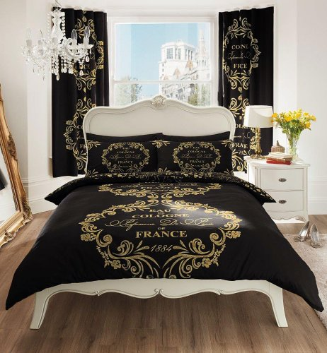 Black & Gold Script Printed Duvet Cover Sets (King)