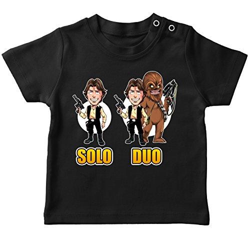 T-Shirt bébé Noir Star Wars parodique Le Duo Han Solo et Chewbacca : Solo Duo : (Parodie Star Wars)