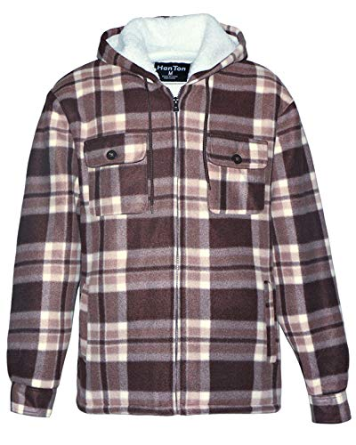 Heavyweight Hoodies for Men Sherpa Lined Fleece Full Zip Plaid Winter Warm Sweatshirts Jackets(Brown, L)