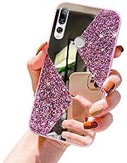 Herbests Funda Compatible con Huawei P Smart Z - Funda de Silicona Purpurina Lentejuelas + Espejo Carcasa de Elegante Ultra Delgada Cover Case TPU Bumper Antishock Cubierta,Rosado