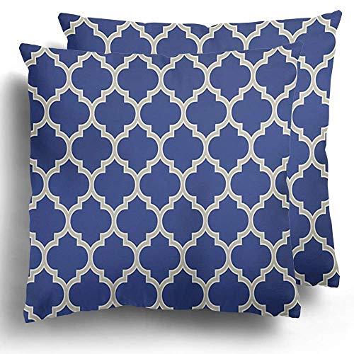 Throw Pillow Funda Paquete de 2 Enrejado Porcelana Indigo Azul y Blanco Vintage Marroquí Patrón Poliéster Cojín Funda de Almohada Sofá Decoración del hogar