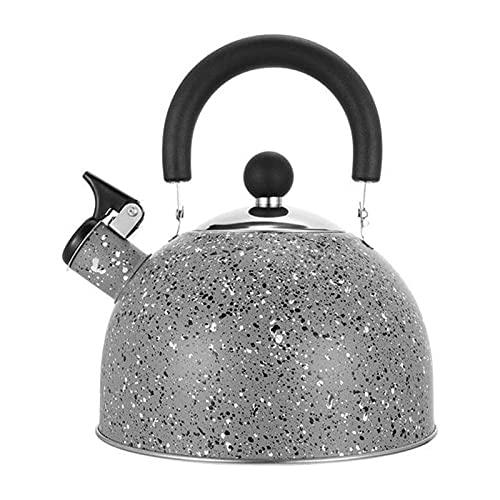 ChengBeautiful Hervidores De Estufa Tetera de hervidor de té de Silbato de Acero Inoxidable Tetera de hervidor de Agua con Mango a Prueba de Calor (Color : Gris, Size : One Size)