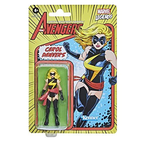 Figura de acción Coleccionable de Carol Danvers de Retro 375 de 9,5 cm de Hasbro Marvel Legends Series