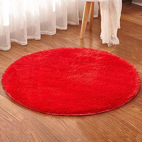 Alfombra Shaggy de Redonda Antideslizante Suave Alfombras Salón Dormitorio Sofá Rojo Diámetro 120CM
