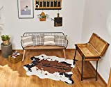 NativeSkins Faux Cowhide Rug (4.6ft x 5.2ft) - Cow Print Area Rug for a Western Boho Decor - Synthetic, Cruelty-Free Animal Hide Carpet with No-Slip Backing
