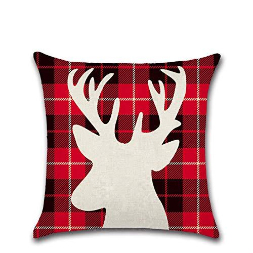 PPTS Christmas pillowcase cushion cover silhouette lattice theme deer bear Christmas tree pillow