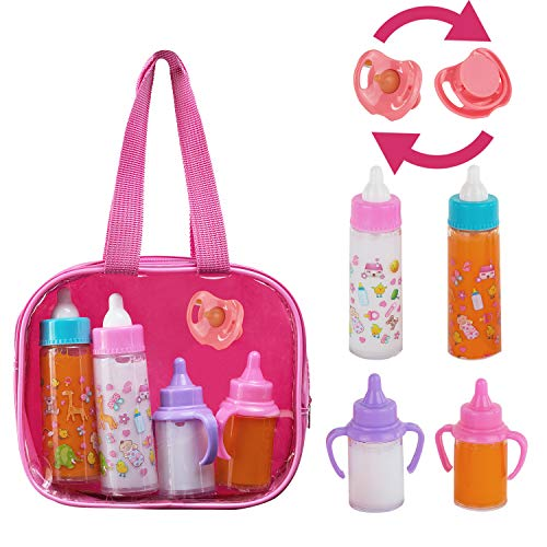 fash n kolor, My Sweet Baby Disappearing Doll Feeding Set | Baby Care 4 Piece Doll Feeding Set for Toy Stroller | 2 Milk & Juice Bottles with Toy Pacifier for Baby Doll,