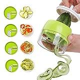 Cortador de Verdura, 4 en 1 Rallador de Verduras, Espiralizador de Verduras, Espiralizador Vegetal,...