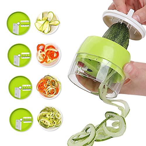 Spiralizzatore di Verdure, 4 in 1 Taglia Verdure, Affetta Verdure, Mandolini da Cucina, Rotanti Grattugia, per Pasta zucchine cetrioli Carote Cipolla