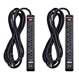 Cable Matters 2-Pack 6 Outlet Surge Protector Power Strip with USB Charging Ports, 300 Joules with 12 Foot Power Cord in Black