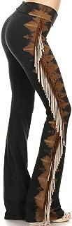 Women's Fringe Leg Multicolor Tie Dye Foldover Waist Yoga Pants