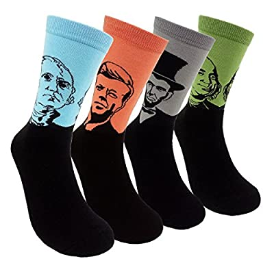 Famous Painting Art Printed Mens Dress Socks - HSELL Crazy Patterned Fun Crew Cotton Socks 6 Pack (Presidents 4 Pack)