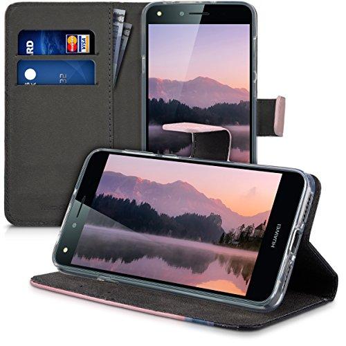 kwmobile Huawei Y6 II Compact (2016) Hülle - Kunstleder Wallet Case für Huawei Y6 II Compact (2016) mit Kartenfächern und Stand - Berg Morgenröte Design Altrosa Schwarz - 4