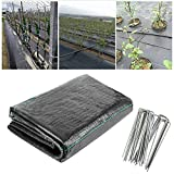 XUEXUE Weed Barrier Fabric, Heavy Duty 90gsm Weed Membrane UV Stabilished Black Woven Covers with 100 Securing Pegs, Permeate Water (Color : Black, Size : 2.5X10M)