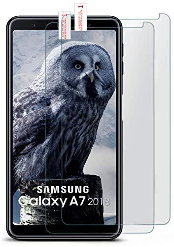 MoEx® Matte Panzerglasfolie aus 9H Echtglas passend für das Samsung Galaxy A7 (2018) | Kratzfest, Entspiegelnd + Reduziert Fingerabdrücke
