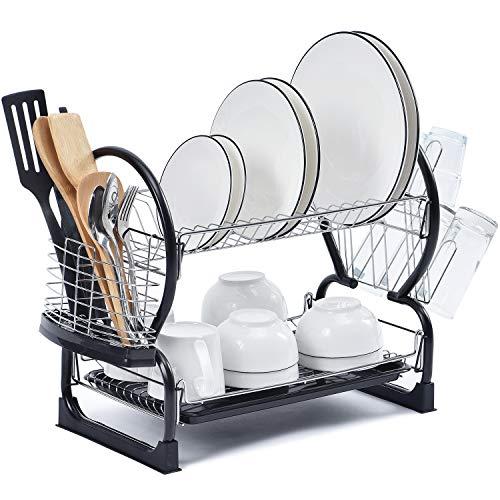 Escurridor de platos de Kingrack, 2 niveles, fácil de montar, gran capacidad, escurridor de platos con soporte de utensilios de montaje lateral y soporte para tazas, organizador de platos