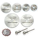 Xcozu, kit di lame per sega circolare HSS, 6 lame da taglio e 2 aste di prolunga, dischi da taglio per legno, plastica e metallo