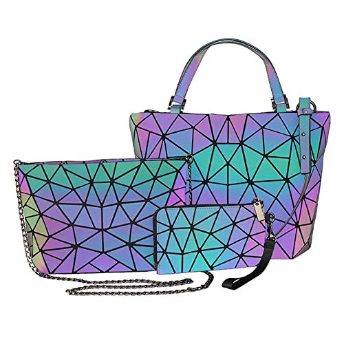 Suuran Handtaschen Damen, Geometrischer Holographic Tasche, Leuchtender Henkeltasche, Geometrisch Schultertasche, Geschenk für Frauen Brieftasche Set 3Pcs