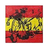 AMONKA Reloj de pared cuadrado con diseño de toros en la bandera de España, sin garrapatas, silencioso, acrílico, para decoración del hogar, sala de estar, dormitorio, cocina, escuela, oficina