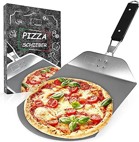 Yewrrite Pala para pizza de acero inoxidable + cortador de pizza también se puede utilizar para hornear pizzas caseras, pan y pizza con mango plegable, fácil de almacenar