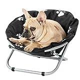 N/Y Cama para perros elevada, plegable para interior/exterior, marco de acero plegable con acolchado para cojín, tumbona de viaje elevada para gatos pequeños