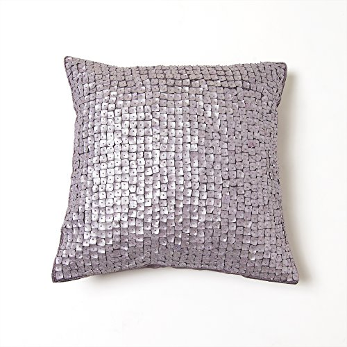 """Best Home Fashion Closeout Mother of Pearl Pillow - Insert Not Included - Purple - 18"""" W x 18"""" L - (2 Pillow Covers)"""