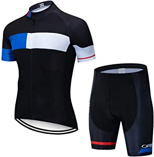 FJLR Maillot Cycliste Homme Tenue De V/élo Vetement Sport Jersey sans Manches Cuissard avec 9D Gel Rembourr/ée,C,4XL
